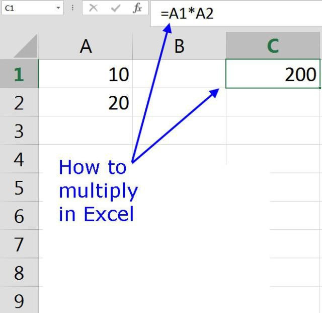 How to multiply in Excel number by number