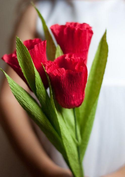 Как сделать тюльпан из гофрированной бумаги своими руками ... Тюльпан из Гофрированной Бумаги
