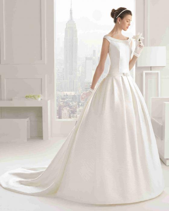 Satin Wedding Dress with Train