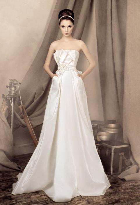 satin wedding dress photo