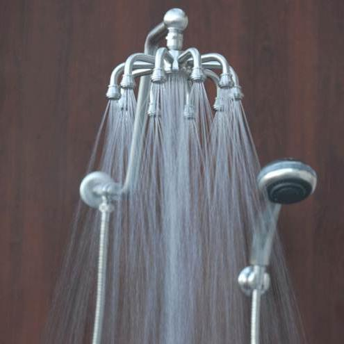 bathroom rain shower and views