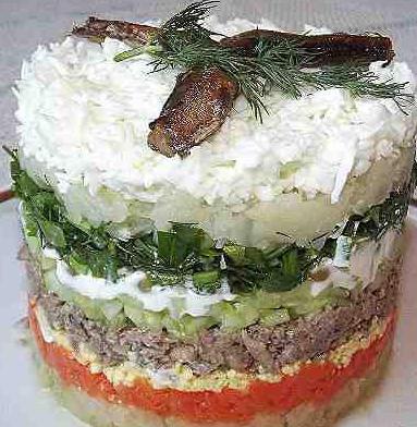 Салат со шпротами рецепт очень вкусный слоями