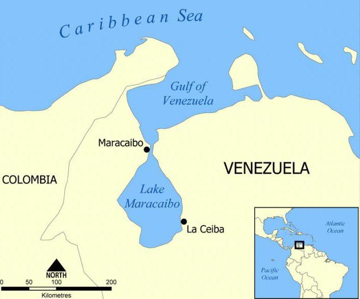 Озеро Маракайбо на карте