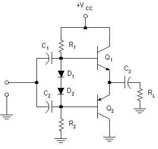 Complementary emitter follower with diodes