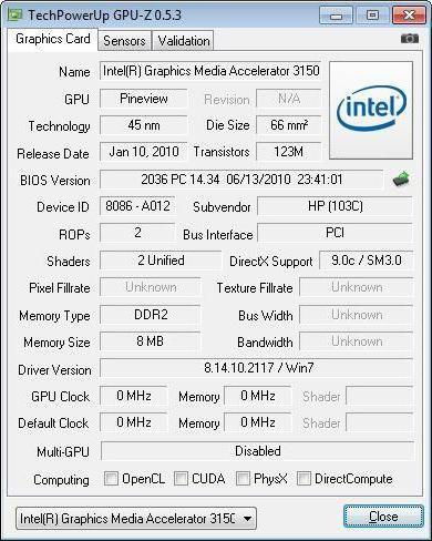 intel graphics media accelerator 3150 windows 7