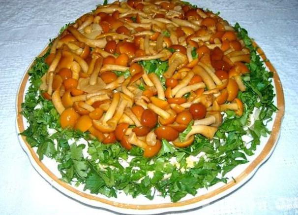Салат лесная поляна с опятами и корейской морковкой рецепт и