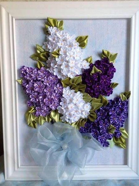 embroidery with lilac ribbons in the basket