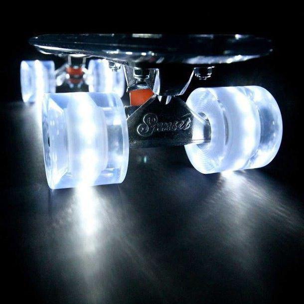 skateboard with glowing wheels
