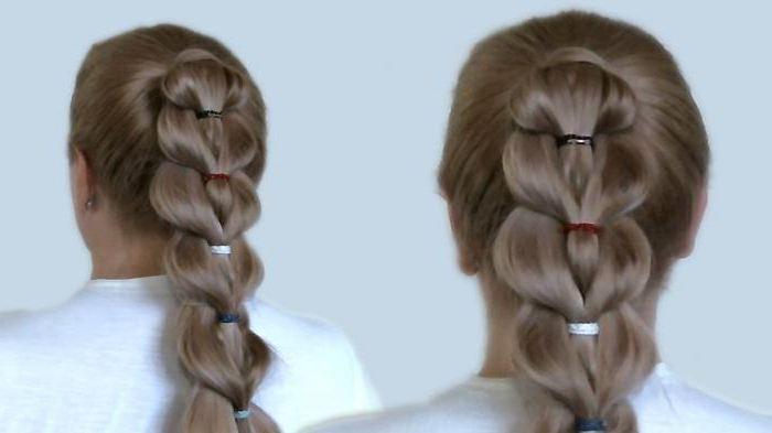 Объемная коса с помощью резинок