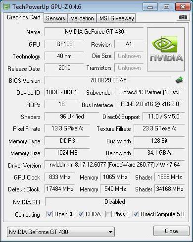 nvidia geforce gt 430 характеристики