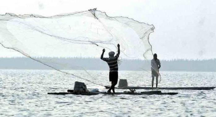 Fishing from the dam in the Gulf of Finland