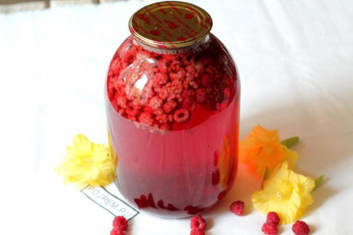 raspberry compote for the winter for 3 liters