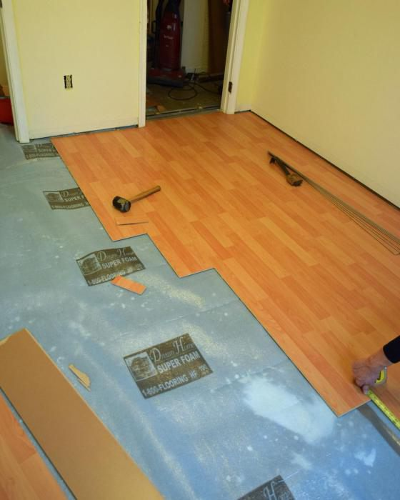 laminate substrate on uneven concrete floor