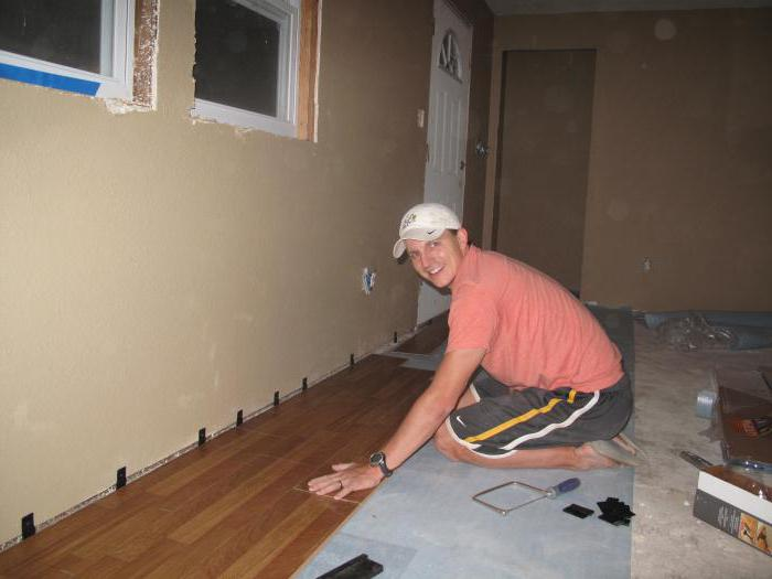 substrate under the laminate on a concrete warm floor