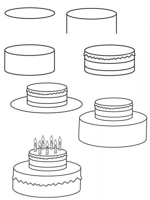 Срисовать картинки торт