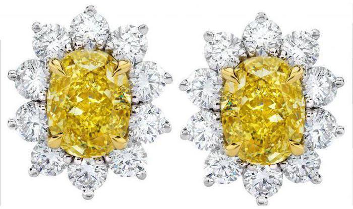 earrings with yellow diamonds