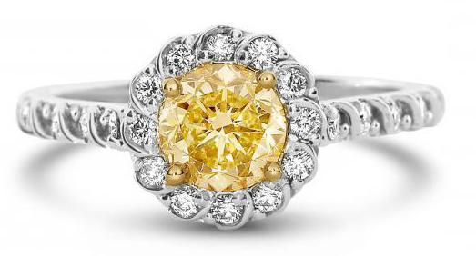 diamond ring white and yellow gold
