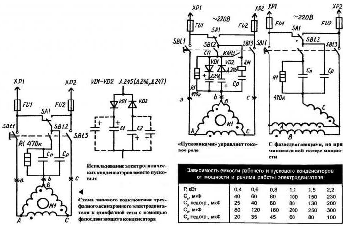 Схема включения двигателя конденсатор