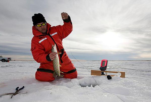 Dual beam echo sounder for fishing in winter and summer