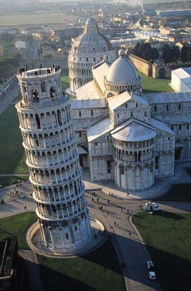 Leaning tower leaned to the side