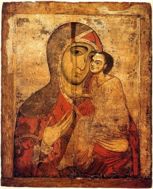 old russian icon of mother of god