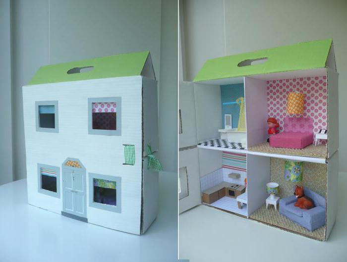 Как сделать домик для кукол барби своими руками из коробки или картона 26