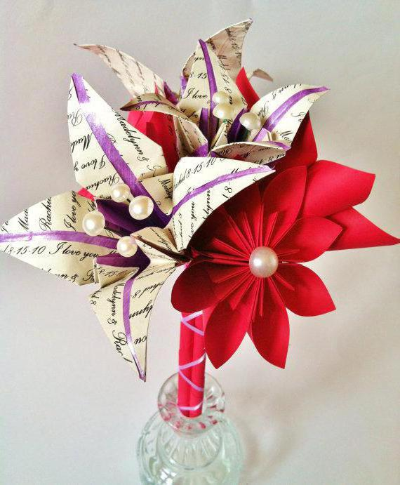 bouquet of flowers made of candy and corrugated paper
