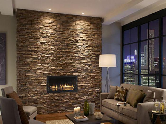 wall decoration with decorative stone and wallpaper