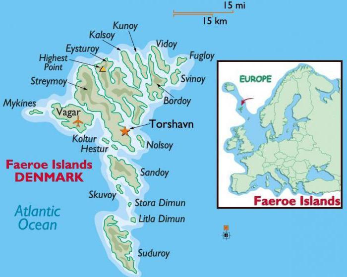 Faroe Islands on the map