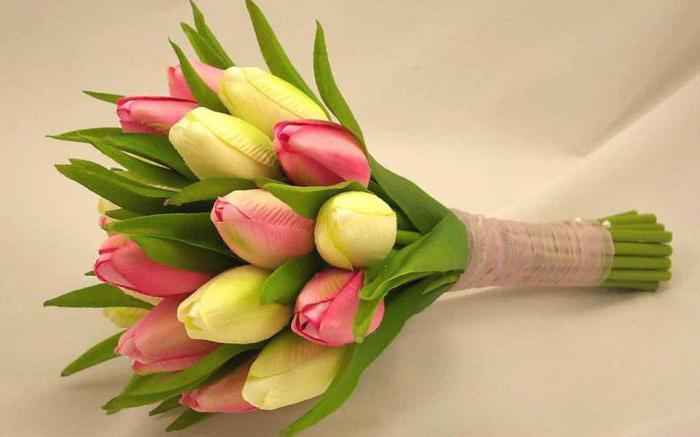 wedding bouquet of white tulips