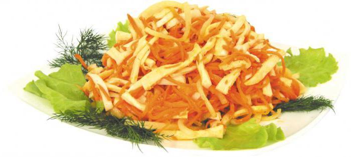 салат с кальмаром и корейской морковью рецепт