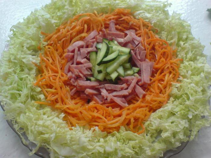 rainbow salad with chips and Korean carrot