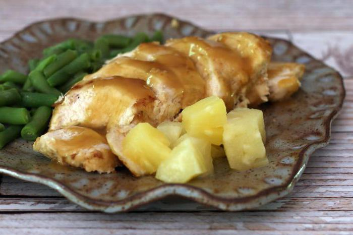 chicken with pineapples and cheese in the oven step by step recipe