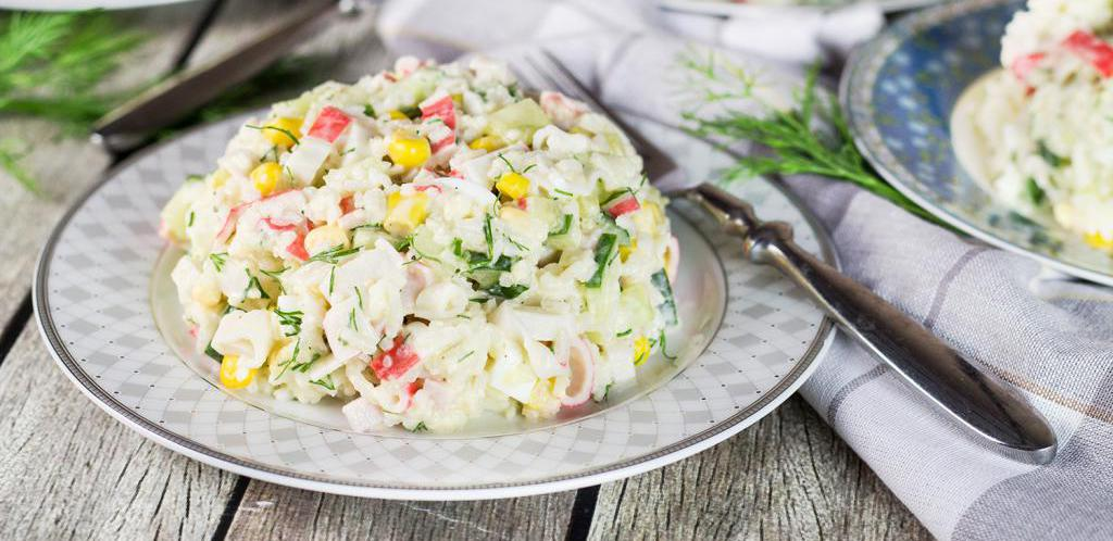 recipe for salad with mushrooms and crab sticks