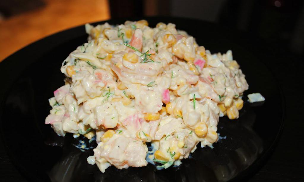 salad recipe with fried mushrooms and crab sticks