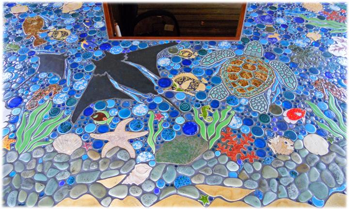 Mosaic of ceramics with a marine theme