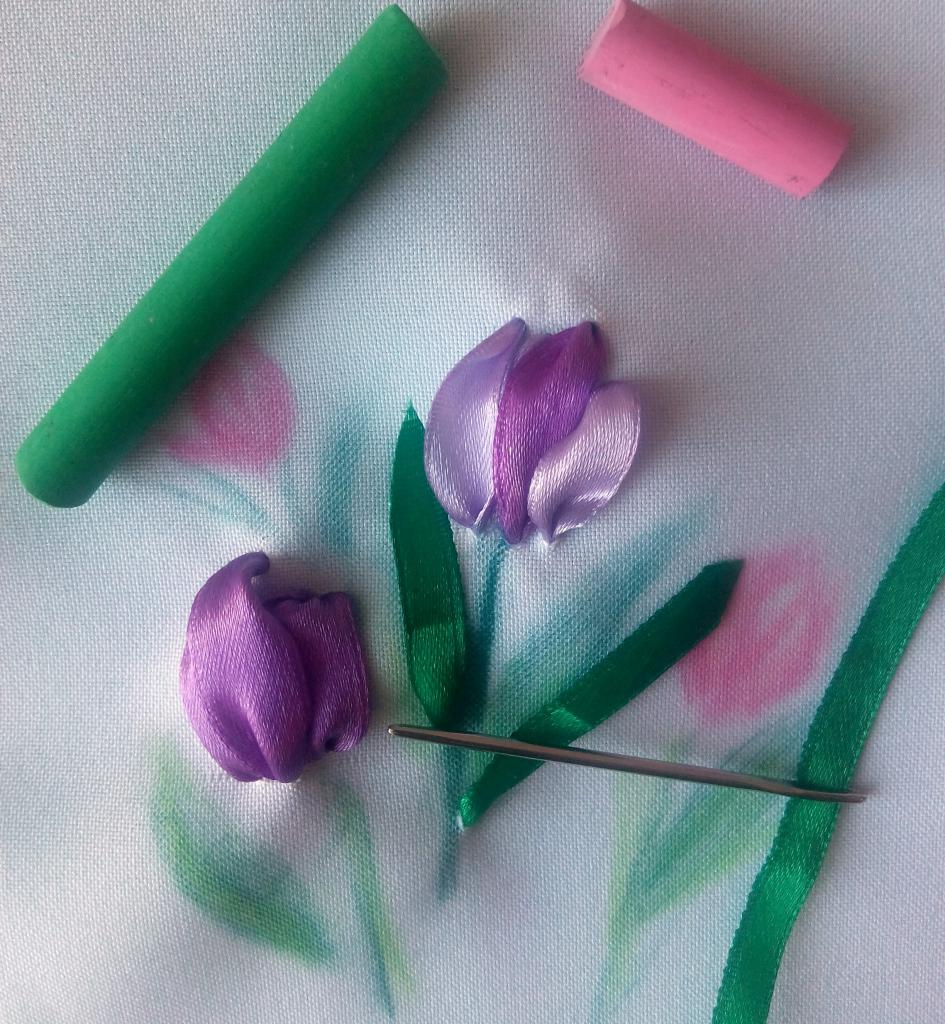 Ribbon embroidery for beginners: purple tulips