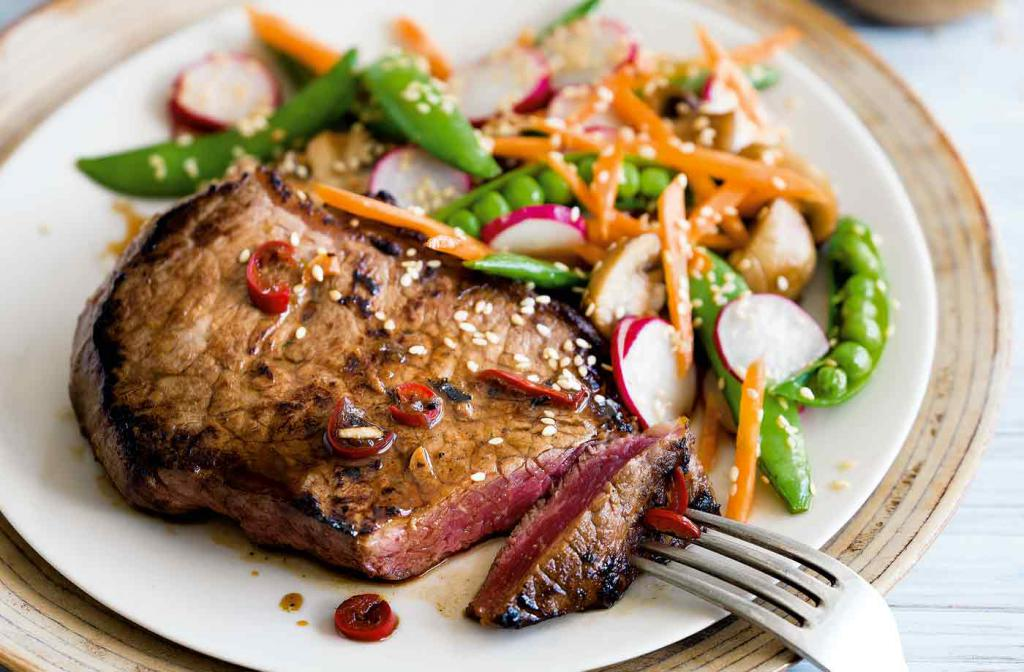 steak with side dish