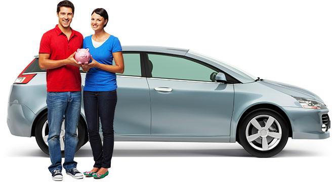 a man with a woman near the car