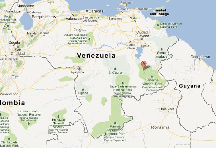 Angel on the map of Venezuela