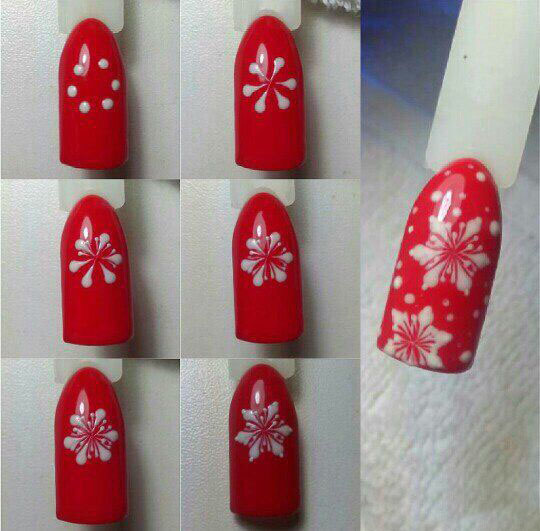 how to draw a snowflake on the nails step by step