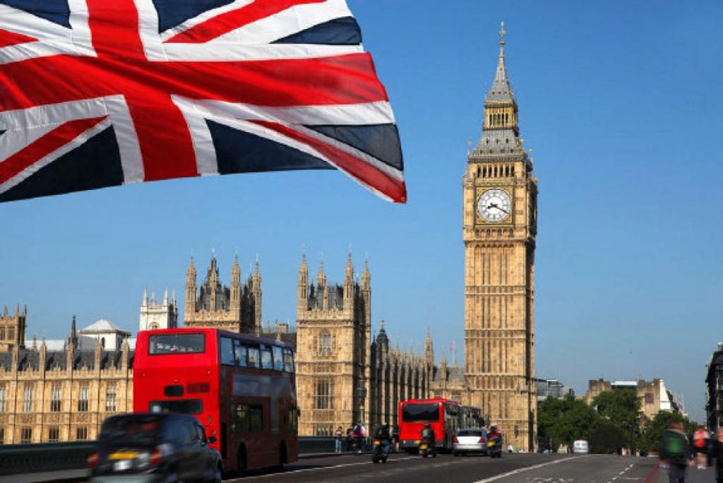 Flag of Great Britain against the background of Big Ben