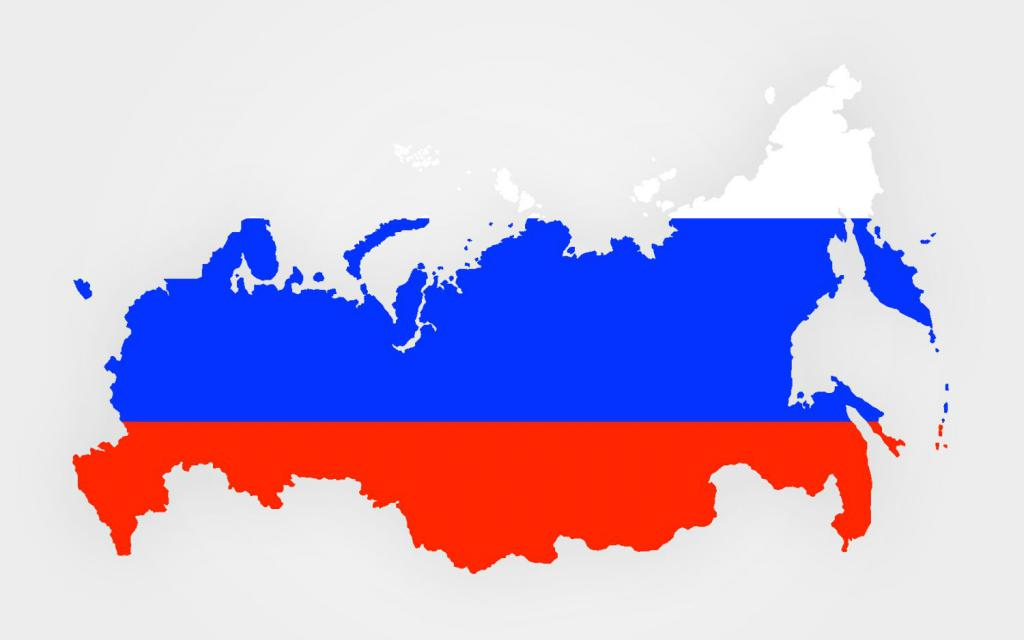Map of the country with the flag of the Russian Federation.