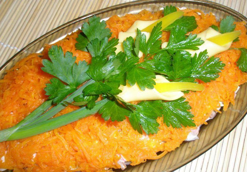 Calla salad on carrot field
