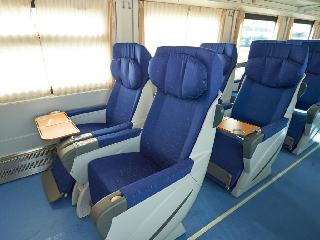 Chairs in the passenger car of long-distance train