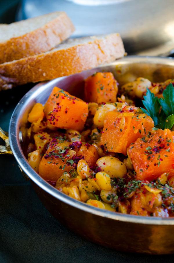 Овощной гарнир в тыквенном пюре на сковороде - рецепт пошаговый с фото