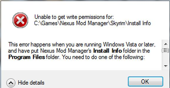 Unable to get write permission for