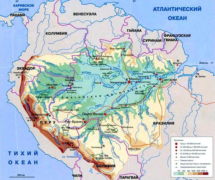 Амазонка на карте