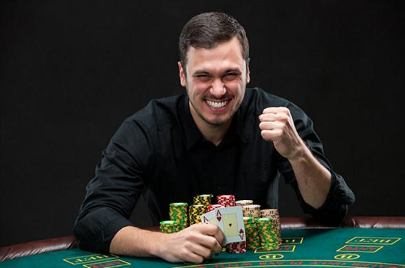 Man loves to play poker