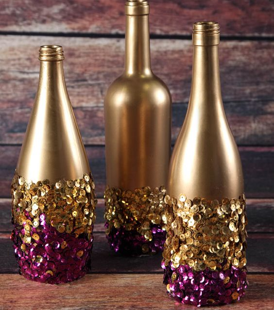 декорирование бутылок шпагатом